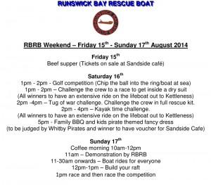 RBRB Weekend Agenda